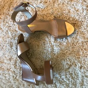 Tan and gold wedge sandals